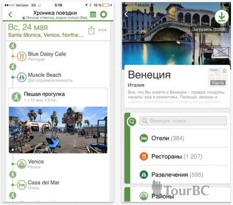 Функция Хроника поездки в приложении TripAdvisor