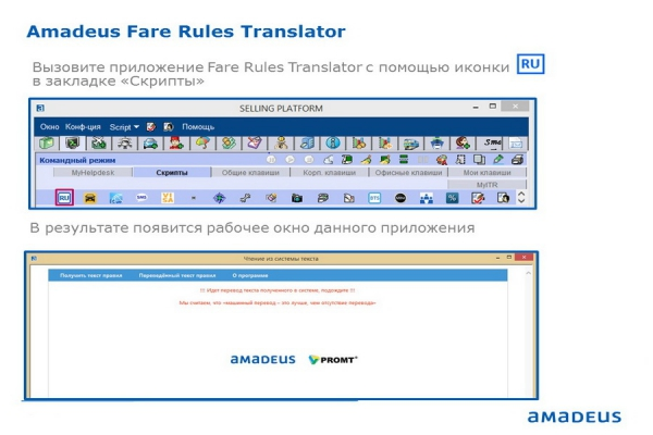 Запуск приложения Fare Rules Translator в системе Amadeus